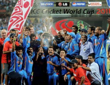 Indian Team with World Cup at Wankhede Stadium, Mumbai