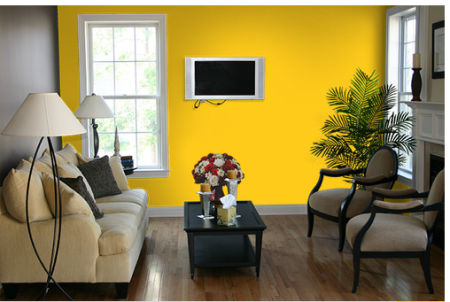 Living Room with little bright not eye hurting yellow colour on one wall combined withh light cream colour rest three walls.